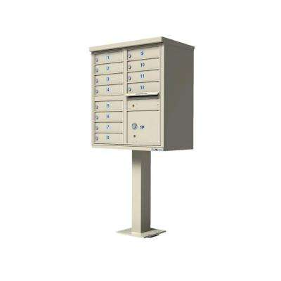 Vital Series Sandstone Cluster Box Unit with 12-Mailboxes, 1-Outgoing Mail, 1-Parcel Locker