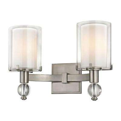 Sofia 2-Light Satin Nickel Sconce with Clear Outer Glass and Opal Inner Glass