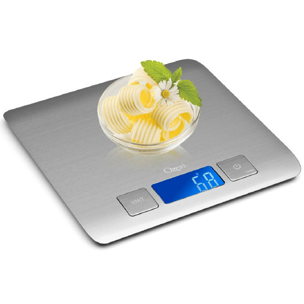 Zenith Digital Kitchen Scale in Refined Stainless Steel with Fingerprint
