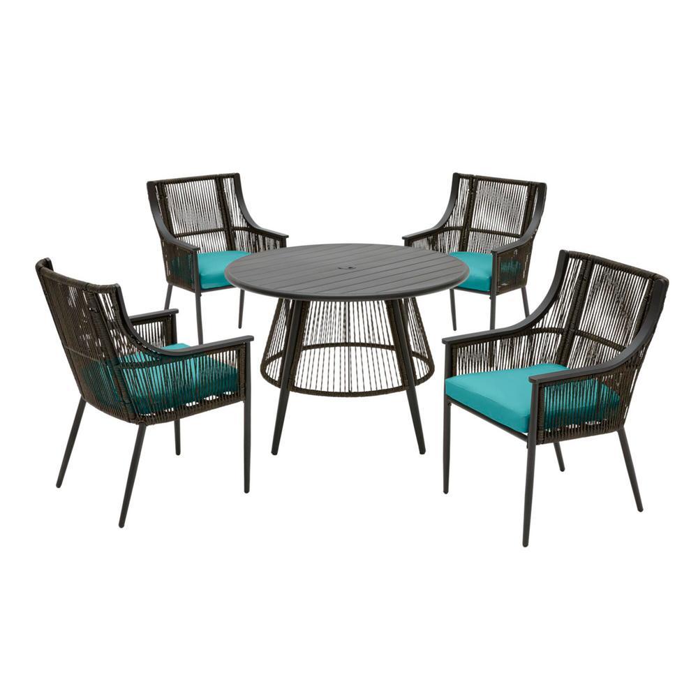 Bayhurst 5-Piece Black Wicker Outdoor Patio Dining Set with Sunbrella Peacock Blue-Green Cushions