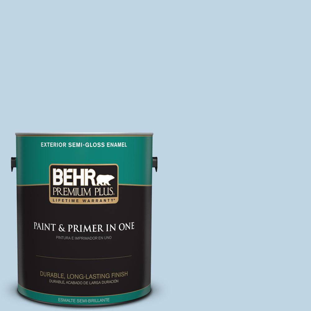 BEHR Premium Plus 1-gal. #S490-2 Glacial Stream Semi-Gloss Enamel Exterior Paint