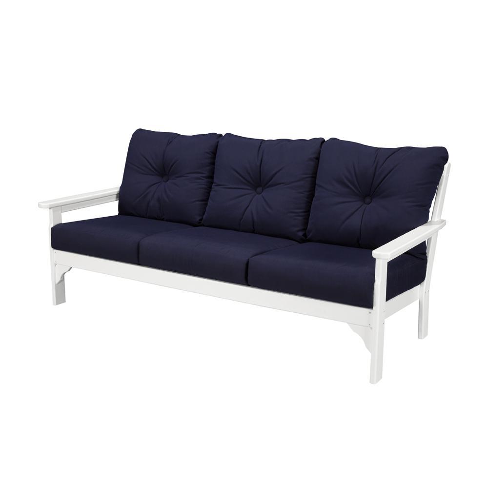 Vineyard White Plastic Patio Outdoor Sofa with Sunbrella Navy Cushions