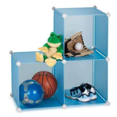 28 in. x 28 in. Blue Stackable 3-Cube Organizer