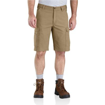 Men's 42 in. Dark Khaki Cotton/Spandex Rugged Flex Rigby Cargo Short