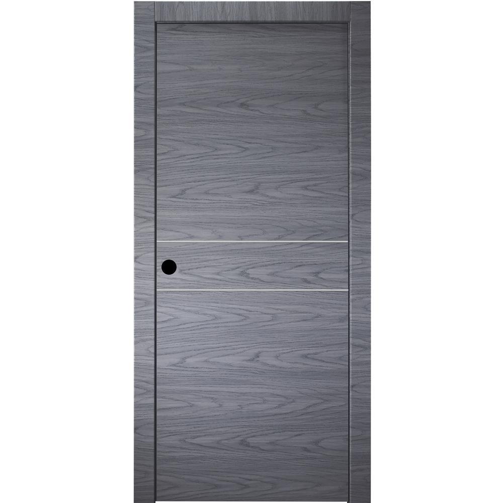 30 in. x 80 in.Luna 2HN Blue Shadow Finished Aluminum Strips Left-Hand Solid Core Composite Single Prehung Interior Door