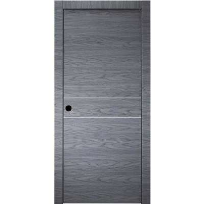 30 in.x 80 in.Luna 2HN Blue Shadow Finished Aluminum Strips Right-Hand Solid Core Composite Single Prehung Interior Door