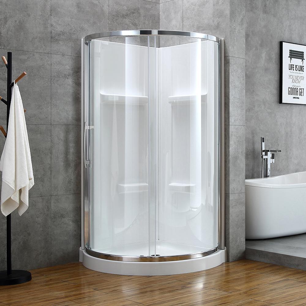 Maia 38 in. x 79.50 in. Corner Drain Corner Shower Kit in Clear and Chrome