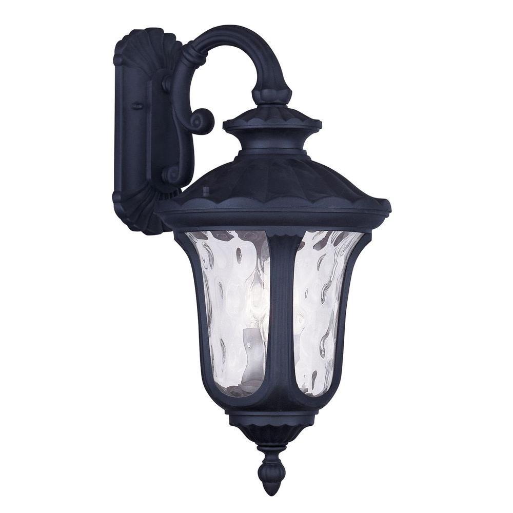 Livex Lighting Providence Wall-Mount 3-Light Black Outdoor Incandescent Lantern