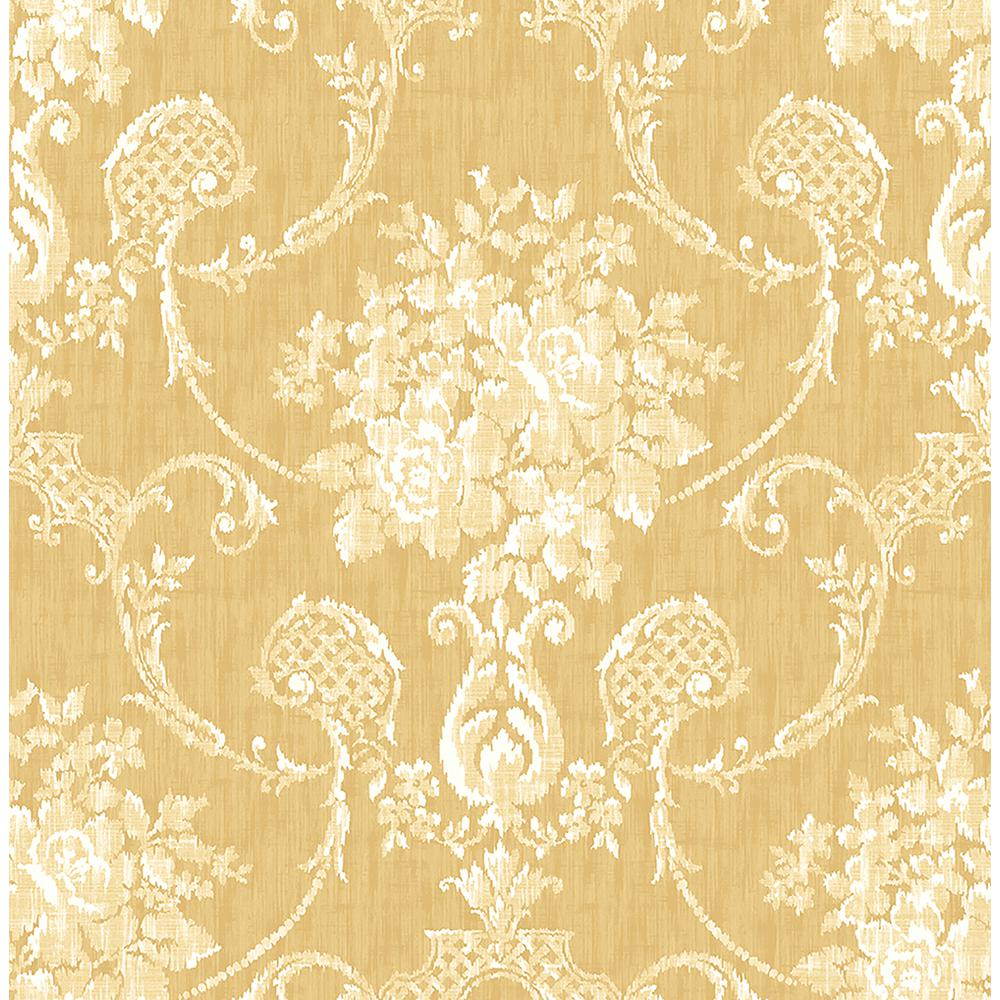 Winsome Mustard (Yellow) Floral Damask Wallpaper