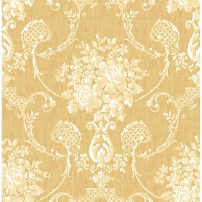 Winsome Mustard Floral Damask Wallpaper