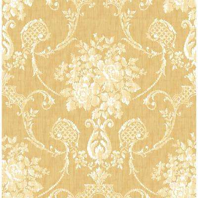 Yellow Damask Wallpaper Home Decor The Home Depot