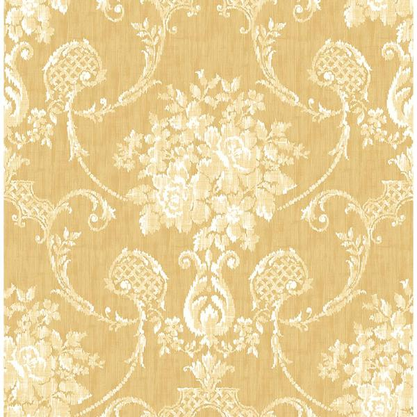 A-Street Winsome Mustard Floral Damask Wallpaper 2702-22746