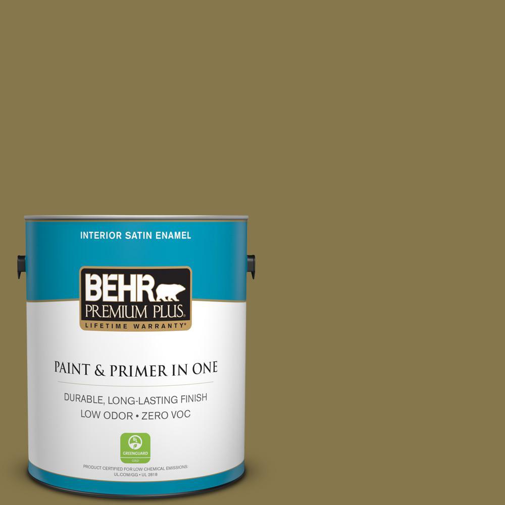 1-gal. #M330-7 Green Tea Leaf Satin Enamel Interior Paint
