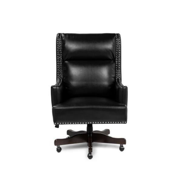 Furniture Of America Harris Black Upholstered Nailhead Trim Height Adjustable Office Chair Idf Fc650 The Home Depot