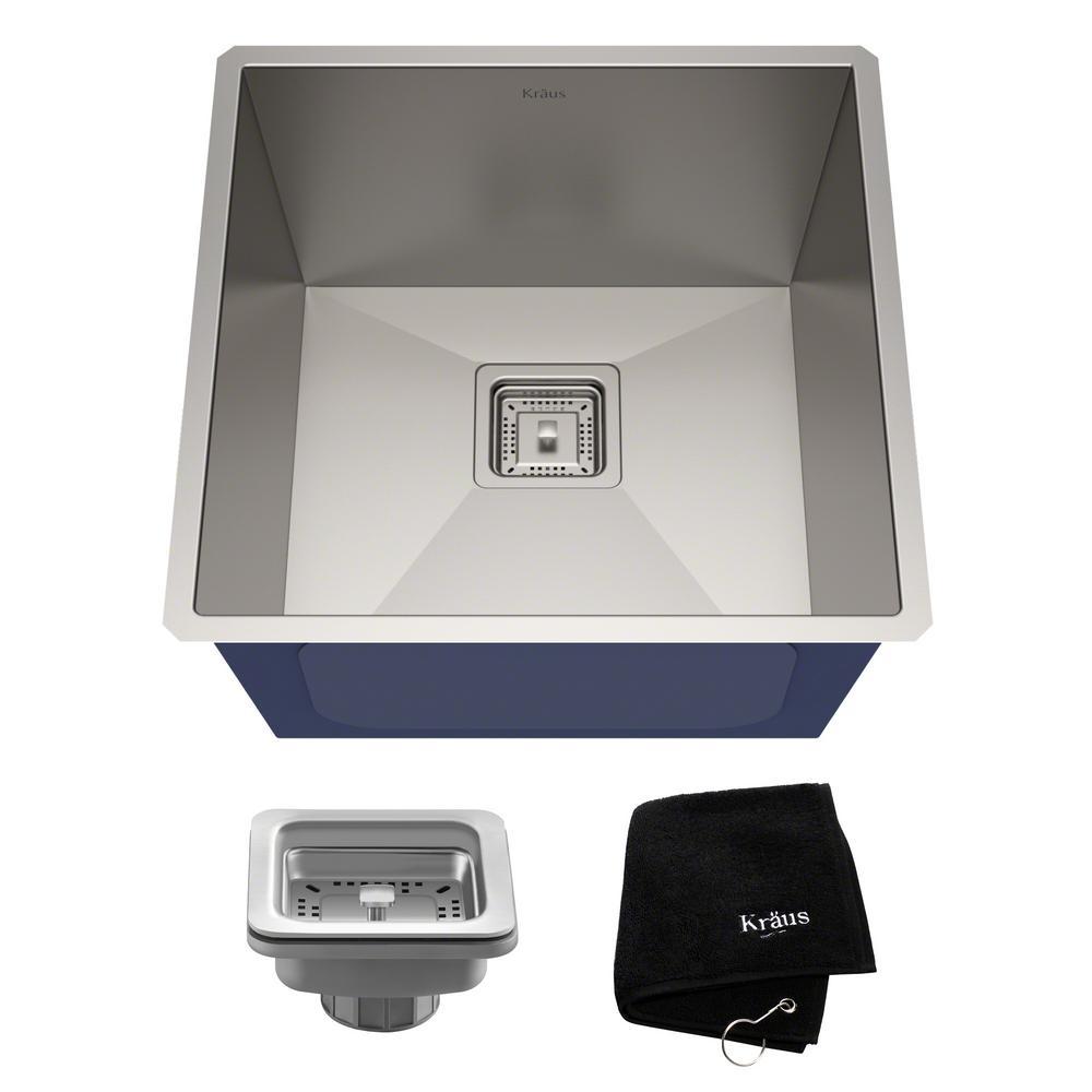 Pax Zero-Radius 18.5in. 18 Gauge Undermount Single Bowl Stainless Steel Kitchen Sink