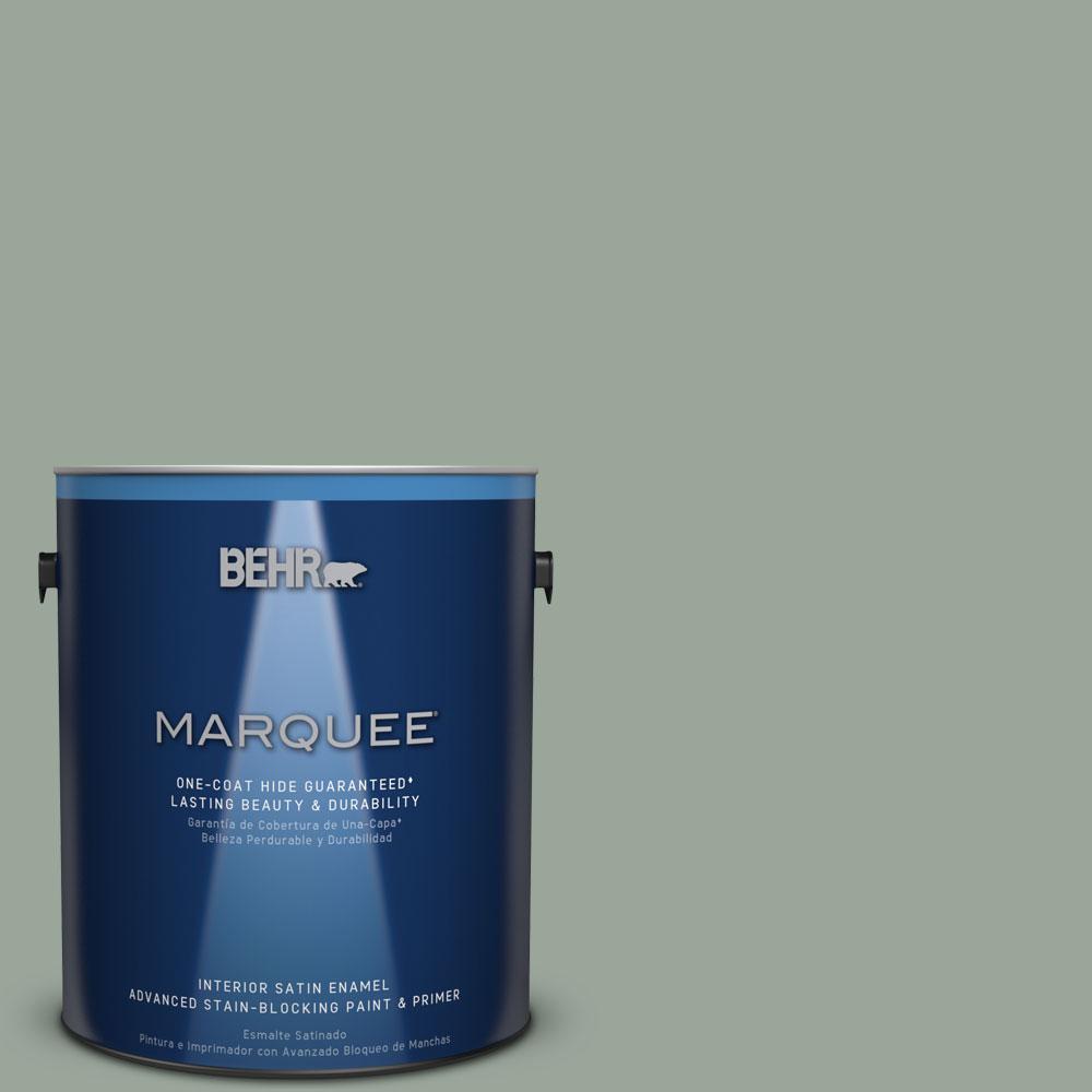 1 gal. #MQ6-17 Green Trellis One-Coat Hide Satin Enamel Interior Paint