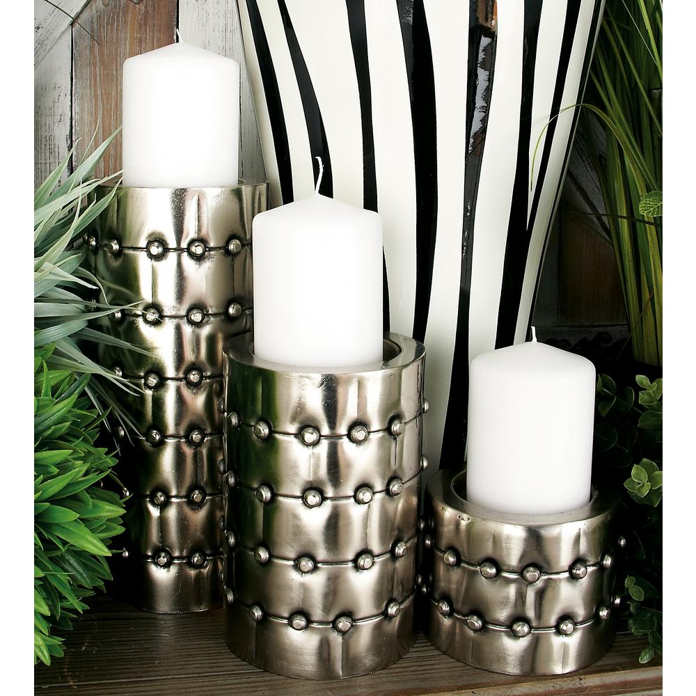 Silver Iron Rivet-Detailed Cylindrical Candle Holder (Set of 3)