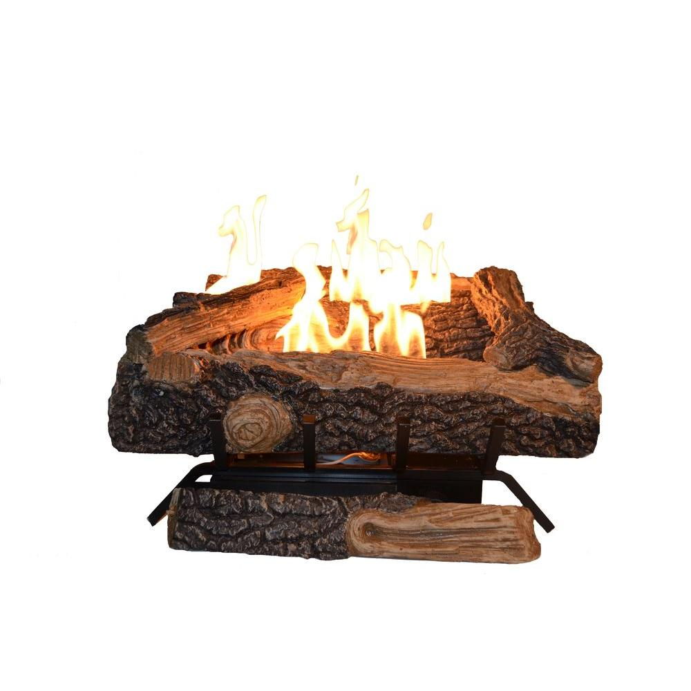 Recreate the look of a mature fire by choosing this Emberglow Burnt River Oak Vented Dual Burner Natural Gas Fireplace Logs.