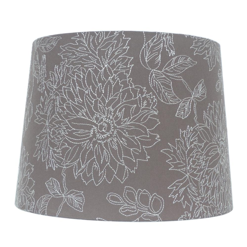 15 in w x 11 in h dark grey embroidered hardback empire lamp shade h dark grey embroidered hardback empire lamp shade aloadofball Choice Image