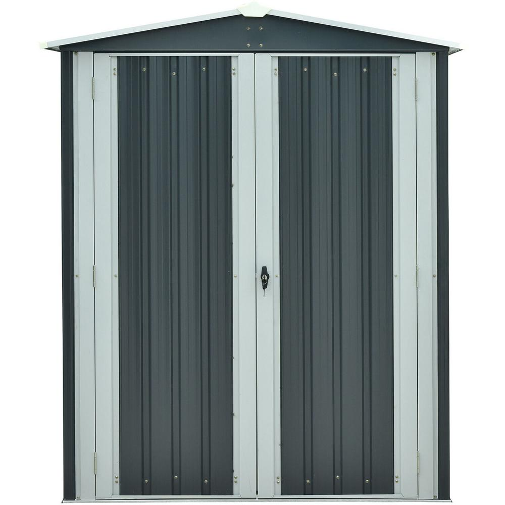 Hanover 5 ft. x 3 ft. x 6 ft. Galvanized Steel Apex Patio Storage Shed