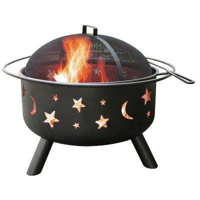 24 in. Big Sky Stars and Moons Fire Pit in Black with Cooking Grate