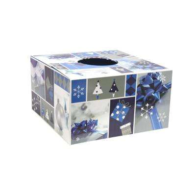 6 in. Dia Blue and Silver Design Tree Skirt Box