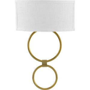 LED Shaded Sconce 1-Light Brushed Bronze Circle LED Wall Sconce