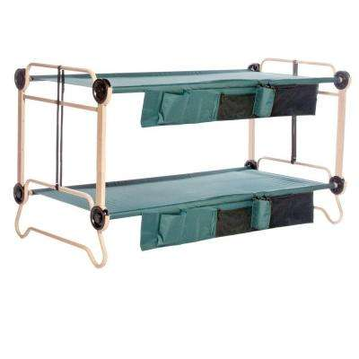 40 in. Green Bunkbable Beds with Leg Extensions and Bed Side Organizers (2-Pack)