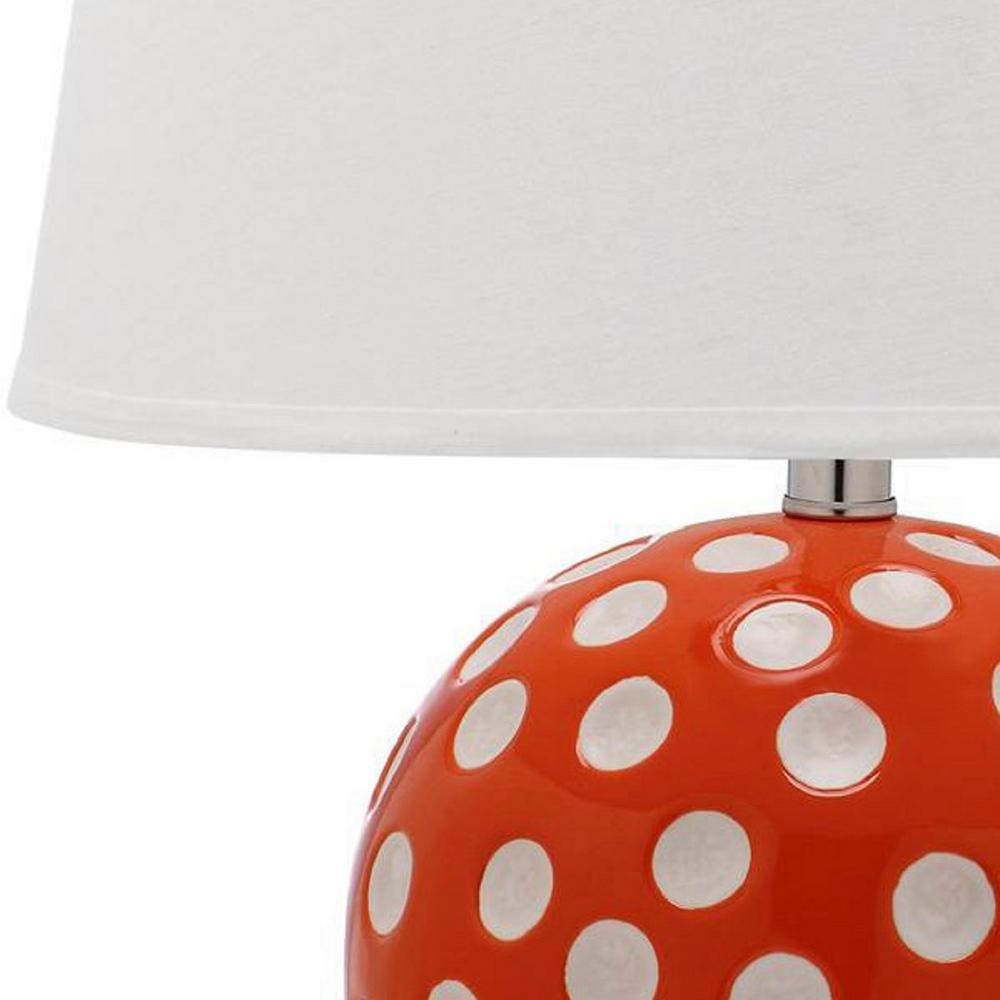 Polka Dot Circle 21 in. Orange Table Lamp with White Shade (Set of 2)