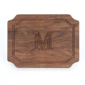 Selwood 1-Piece Walnut Cutting Board with Carved M Monogram by
