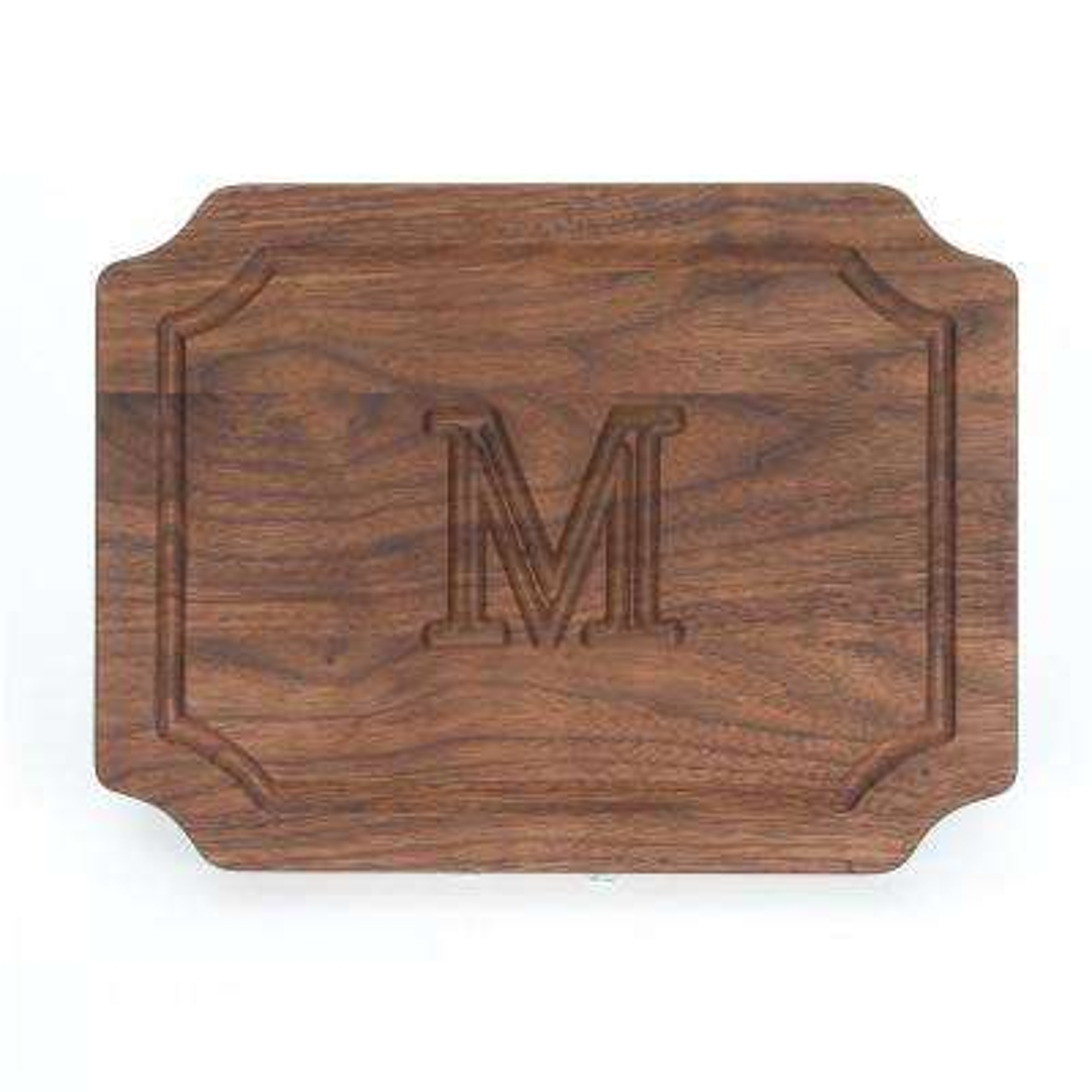 Selwood 1-Piece Walnut Cutting Board with Carved M Monogram