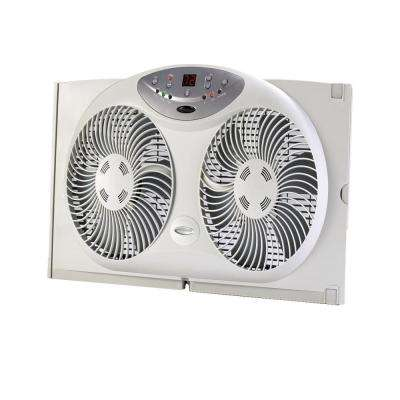 9 in. Twin Window Fan with Remote Control