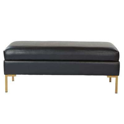 Burlington Black Faux Leather Bench with Coated Gold Legs