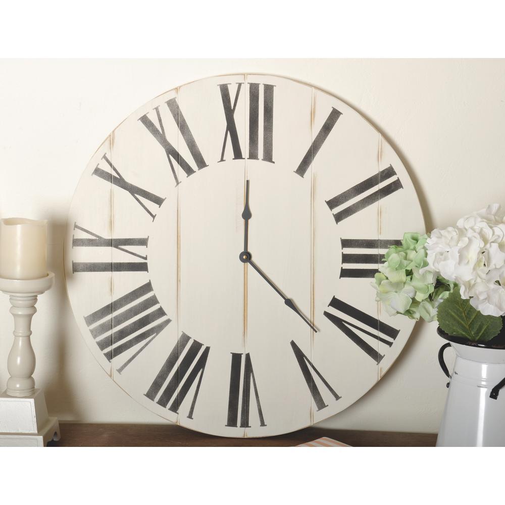 24 in. Oversized Wooden Farmhouse Wall Clock