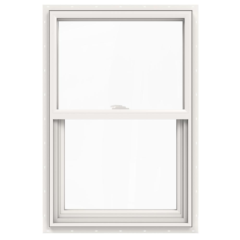 Jeld Wen 23 5 In X 35 V 2500 Series White Vinyl Single Hung Window With Fibergl Mesh Screen