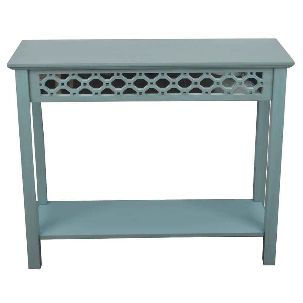 blue console table. Decor Therapy Mirrored Antique Iced Blue Console Table