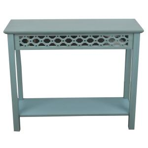 Decor Therapy Mirrored Antique Iced Blue Console Table