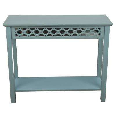 Mirrored Antique Iced Blue Console Table