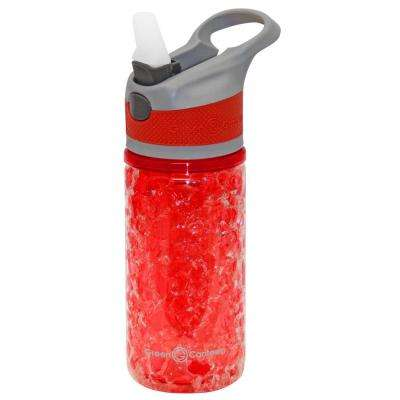 12 oz. Gray and Red Double Wall Plastic Tritan Hydration Bottle with Crackle Freeze Gel (6-Pack)