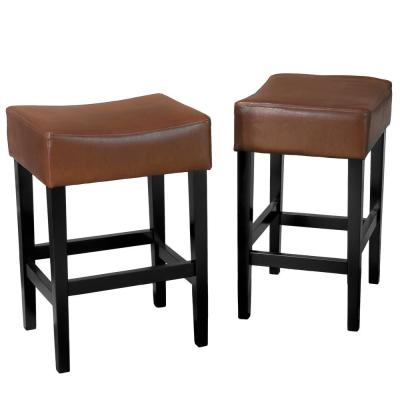 Lopez 26.75 in. Hazelnut Leather Backless Counter Stool (Set of 2)