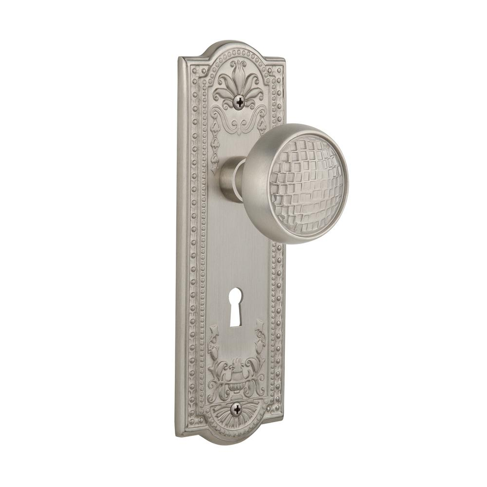 Meadows Plate with Keyhole 2-3/4 in. Backset Satin Nickel Privacy Bed/Bath