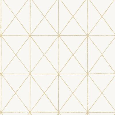 White and Gold Get In Line Strippable Peel and Stick Wallpaper Covers About 30.75 sq. ft.