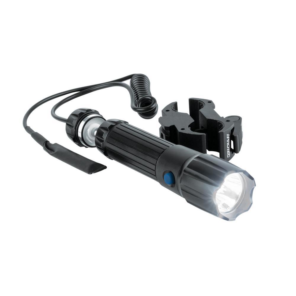 110-Lumen LED Flashlight and Adjustable 5mW 650nm Red Laser Universal Long Gun Mount