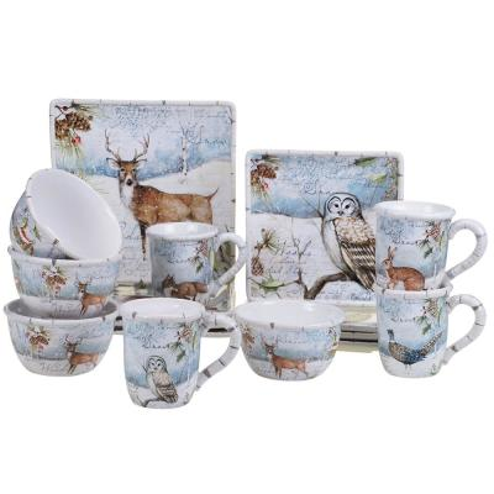 Winter's Lodge by Susan Winget 16-Piece Dinnerware Set