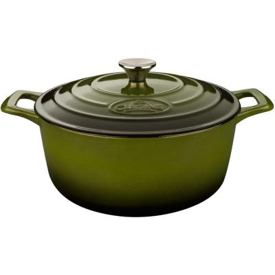 PRO Range 3.7 qt. Round Cast Iron Casserole Dish in Olive Green with Lid
