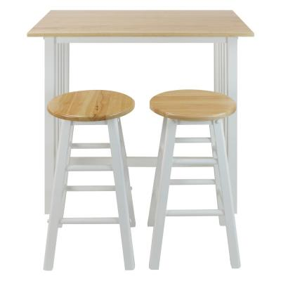 White Solid Wood Breakfast Set with 2-Chairs