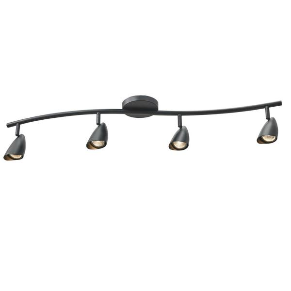 Grayson 4 ft. 4-Light Matte Black S-Shape Track Lighting