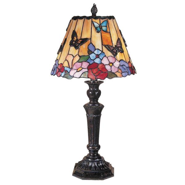 24 in Butterfly Peony Fieldstone Finish Table Lamp with Tiffany Art Glass Table Lamp