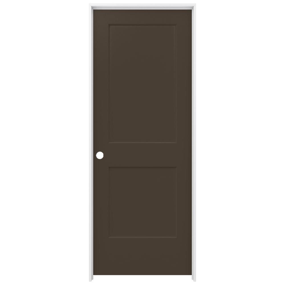 JELD-WEN 32 in. x 80 in. Monroe Dark Chocolate Right-Hand Smooth Solid Core Molded Composite MDF Single Prehung Interior Door