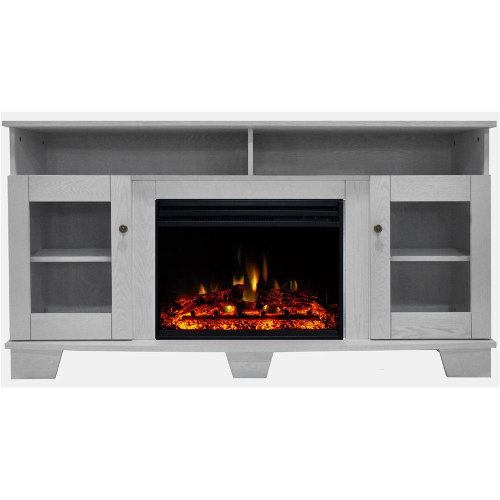 Fabulous Cambridge Savona 59 In Electric Fireplace Heater Tv Stand In White With Enhanced Log Display And Remote Interior Design Ideas Grebswwsoteloinfo
